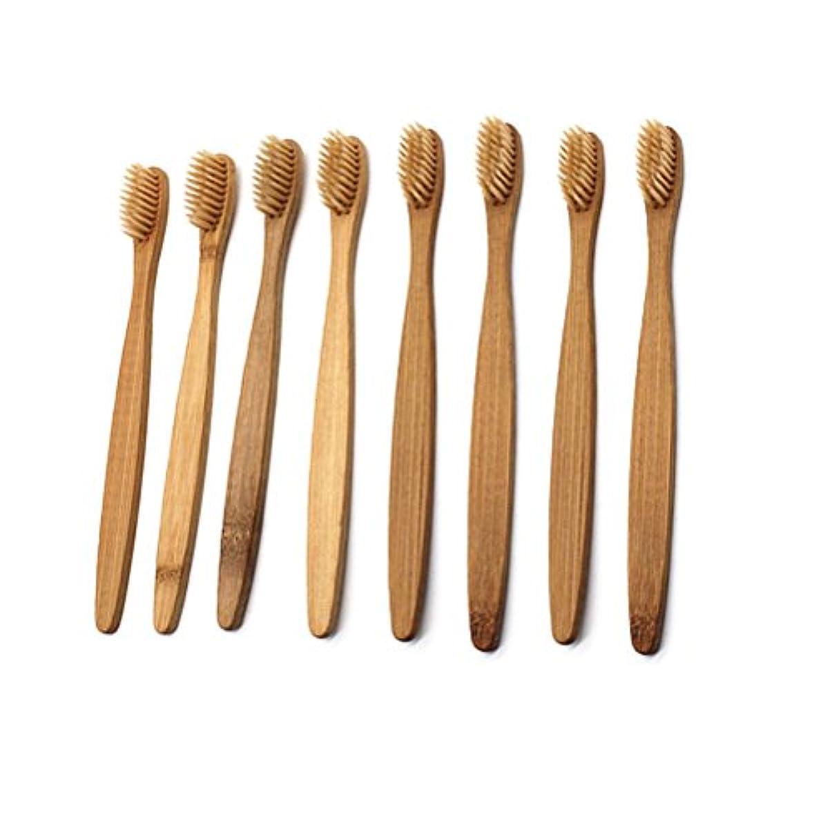 おなかがすいた十分にプレゼンターARTLILY 柔らかい剛毛が付いている8本の自然なタケ歯ブラシの木製の歯ブラシ