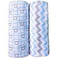 Baby Muslin Swaddle Blankets for Boys 100% Cotton Burp Swaddler Receiving Blankets (2 Pack) [並行輸入品]