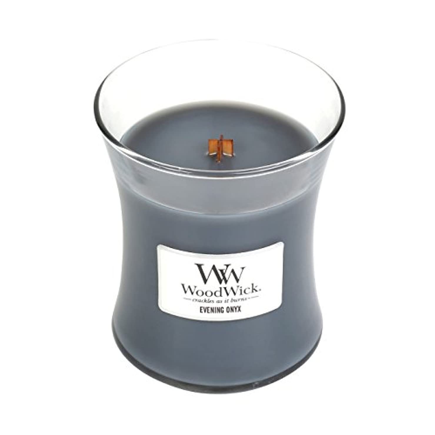 尊敬するピザ懐疑論(Medium, Evening Onyx) - WoodWick Medium Hourglass Scented Candle, Evening Onyx
