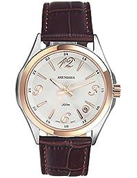 Amundsen ファッションコーヒー革ストラップレディース腕時計