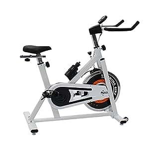 ピスト式 本格スピンバイク ホイル13kg スピンバイク 白 ホワイト エアロバイク スピニングバイク スピナーバイク 有酸素運動 エクササイズ フィットネス 健康器具 静音 摩擦 デジタルメーター トレーニング 家庭用 室内 効果 ジム 耐荷重約125kg 129wh