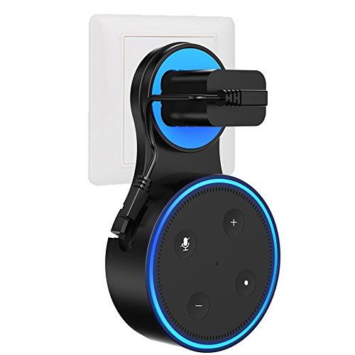 LUCOTEN Amazon Echo Dot アマゾン ミニスピーカー 専用 壁掛け ホルダー カバー ケース 電源コード&充電用ケーブル付きスピーカー スタンド 全面保護ケース Alexa アレクサ 第2世代 壁掛け カバー「ブラック」 (円形, ブラック)