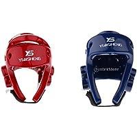 SunniMix 2個セット EVA製 ボクシング ヘルメット 格闘技 ヘッドギア 顔 プロテクター キックボクシング レッド ブルー