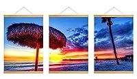 芸術品ズック製印刷吊り絵、内装用品壁のデコレーション吊り絵(ビーチ熱帯の海砂ヤシの木夕日美しい)40x60cmx3枚