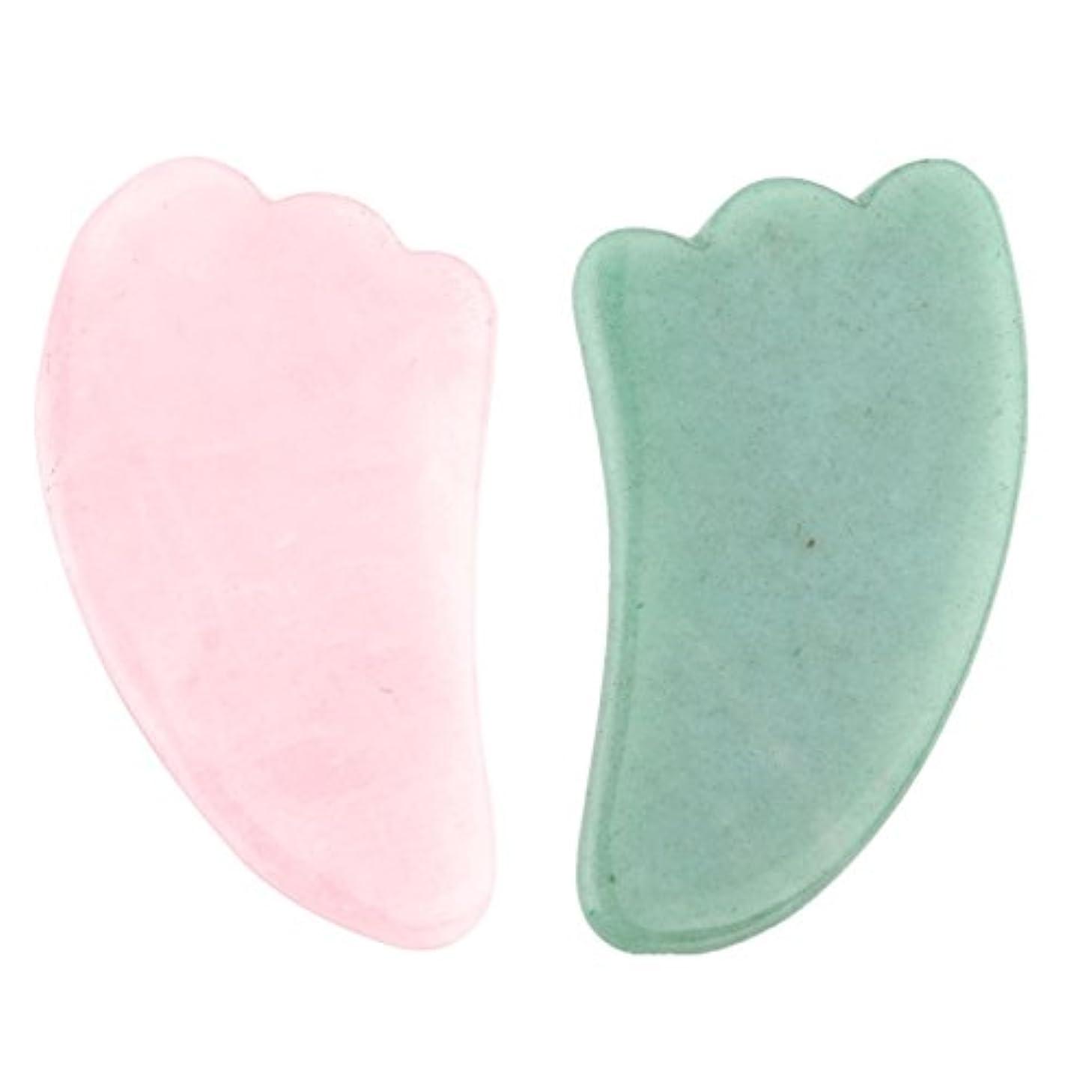 2点セット2pcsFace/Body Massage rose quartz/Adventurine Natual Gua Sha wing shape 羽型/翼形状かっさプレート 天然石ローズクォーツ 翡翠,顔?ボディ...