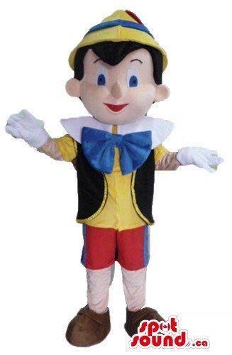 青い蝶ネクタイの漫画のキャラクターとピノキオはマスコットカナダの衣装をSpotSound