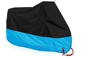 (Blue hawk)防水 耐熱 UVカット バイクカバー オックス210D 厚手生地 風飛び防止 ブルー…