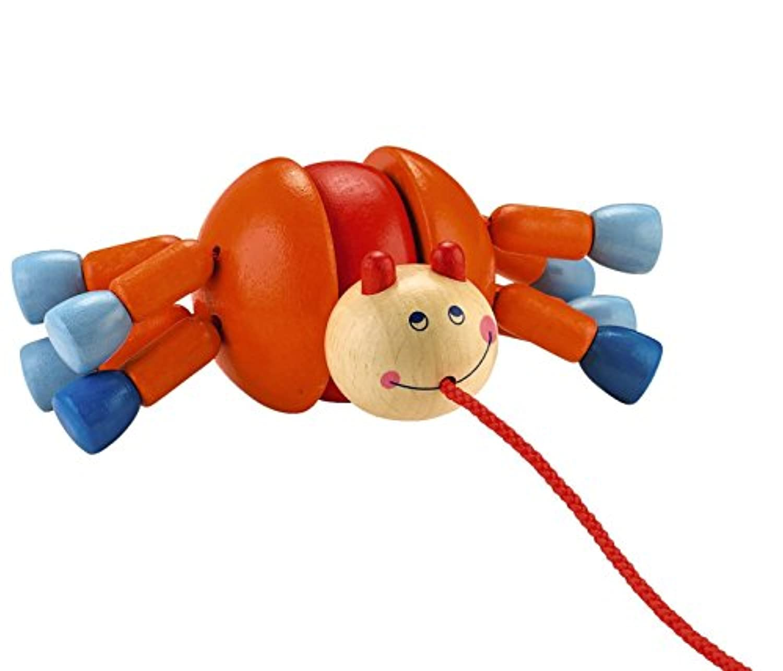Haba Webbyウォーカー木製Pulling動物with 8脚Wobblingの楽しいクラシックPull Toy