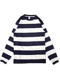 [ベルバシーン] Velva Sheen 長袖Tシャツ ワイドボーダー クルーネック 161552W L ネイビー-ホワイト