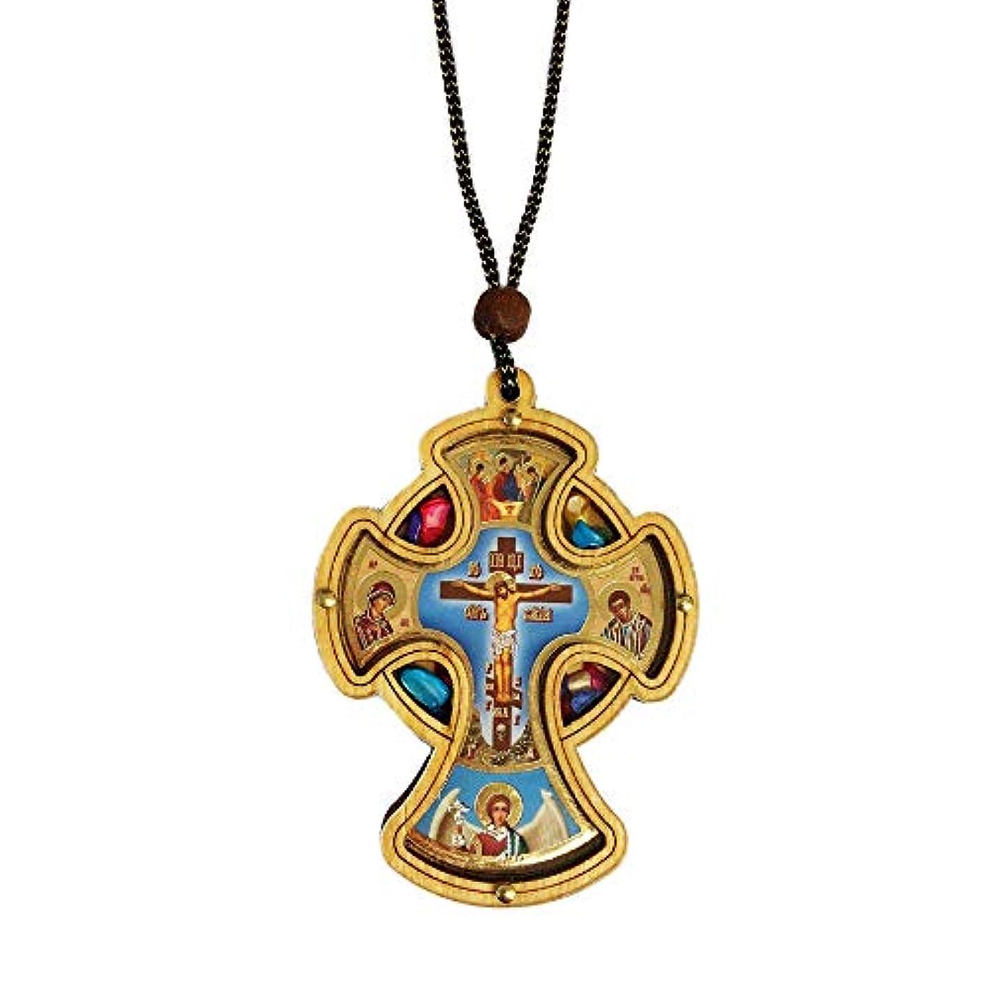 分析的なデュアル死んでいるInspire Nation カーロザリオ カトリック木製クロス クリスタルインセンス付き ブルー