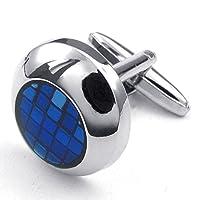[テメゴ ジュエリー]TEMEGO Jewelry メンズ2個ロジウムメッキ炭素繊維クラシック丸いグリッドウェディングカフスシャツカフス、ブルーシルバー [インポート]