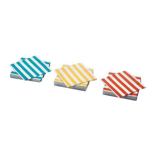 RoomClip商品情報 - IKEA(イケア) MATTA ペーパーナプキン ストライプ ターコイズ オレンジ イエロー 30 ピース オレンジ