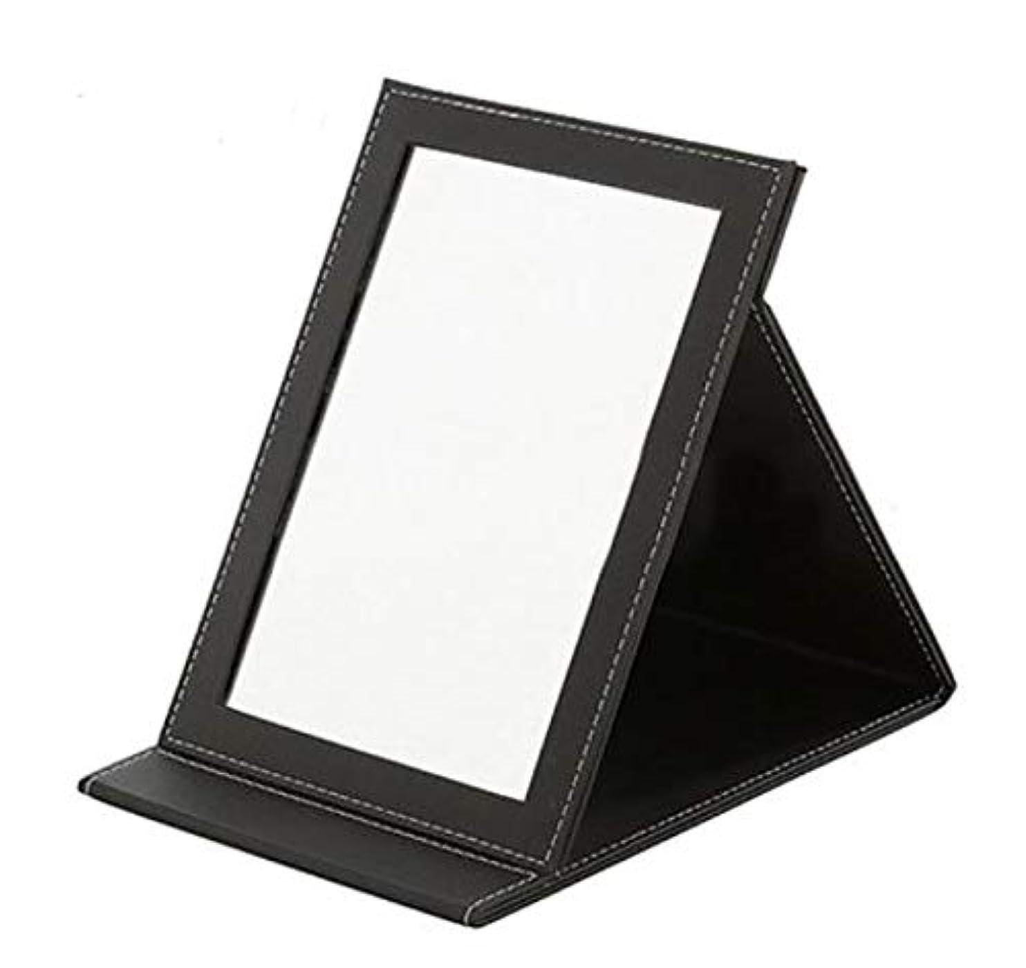 理容室平等改善するWONDER LABO》卓上ミラー 大型 折りたたみ化粧鏡 レザー調でおしゃれ 化粧ミラー かがみ テーブルミラー スタンドミラー 卓上鏡 メイク鏡 メイク用 おしゃれ 手鏡 (L, ブラック)