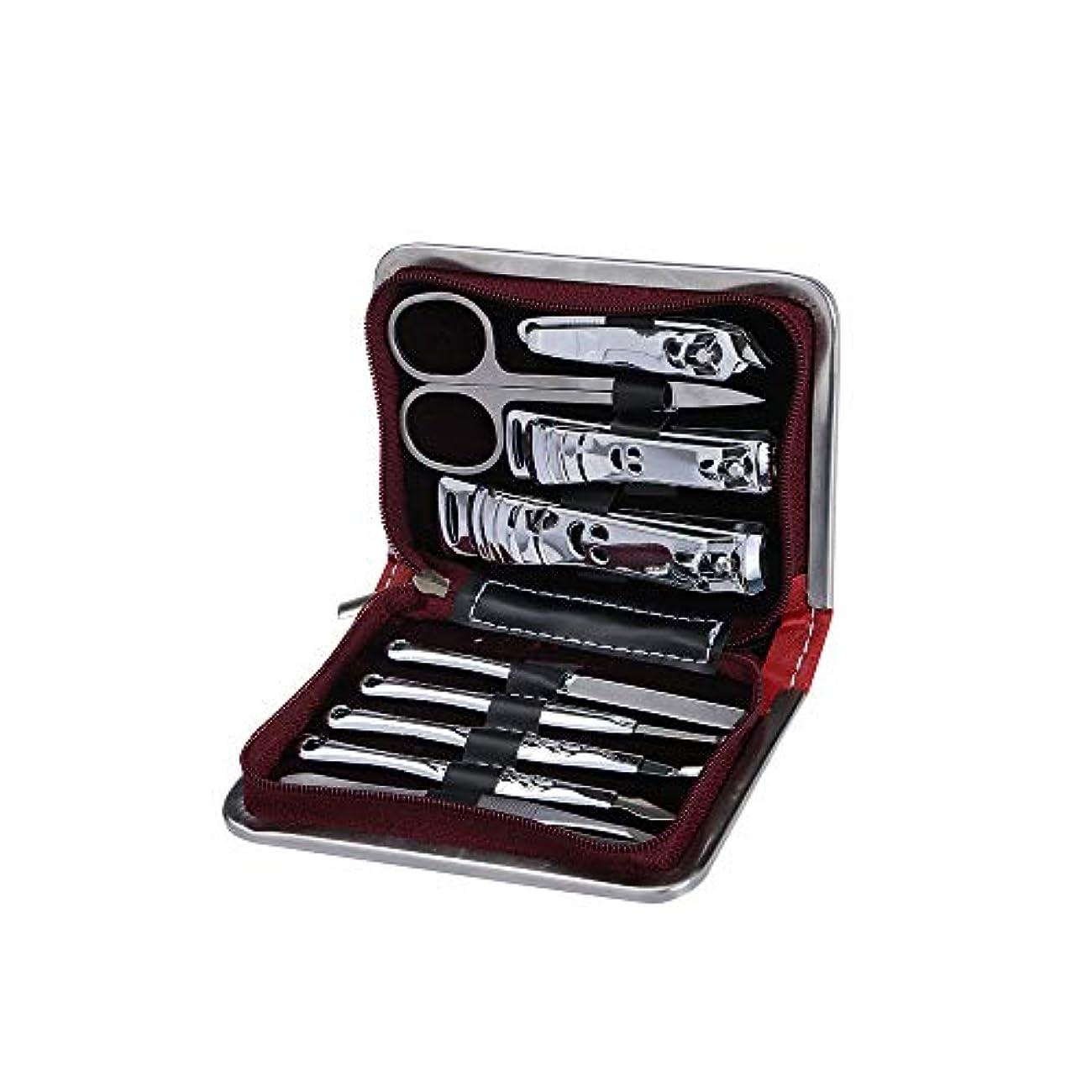 小道具逆さまに団結するネイルケアセット高級ステンレス鋼製 爪やすりセット高級PUレザーケース付き、ブラックレッド、9点セット
