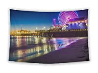 Gear新しい壁のタペストリー寝室Hangingアート装飾カレッジ寮ボヘミアン、The Santa Monica Pier At Night Inサンタモニカカリフォルニア Large, 80 inches wide by 68 inches tall 5608120-GN-WT1-6880