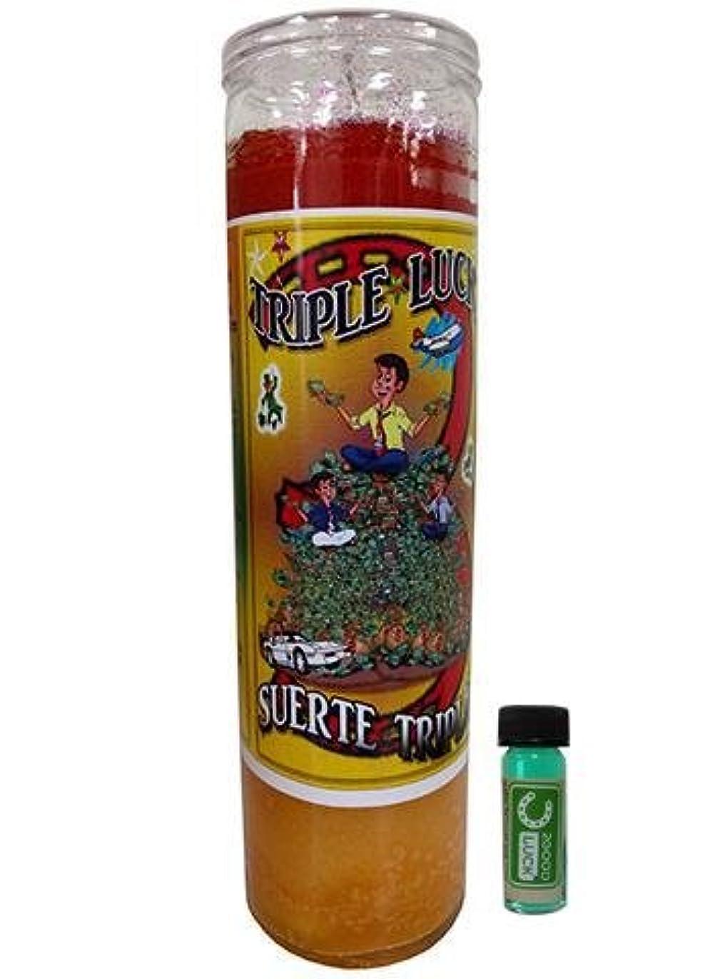 声を出して効率的にじゃがいもTriple Good Luck Dressed Scented Candle – Veladora Preparada Triple Suerte