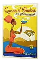なまけ者雑貨屋 Coffee Cafe Bar Ethiopian Arabica Quenn Of Sheba アメリカ ン 雑貨 メタル ブリキ 看板 アンティーク レトロ 壁飾 20x30cm