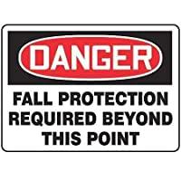 Accuform MFPR105VA Aluminum Safety Sign Legend DANGER FALL PROTECTION REQUIRED BEYOND THIS POINT 10 Length x 14 Width Red/Black on White [並行輸入品]
