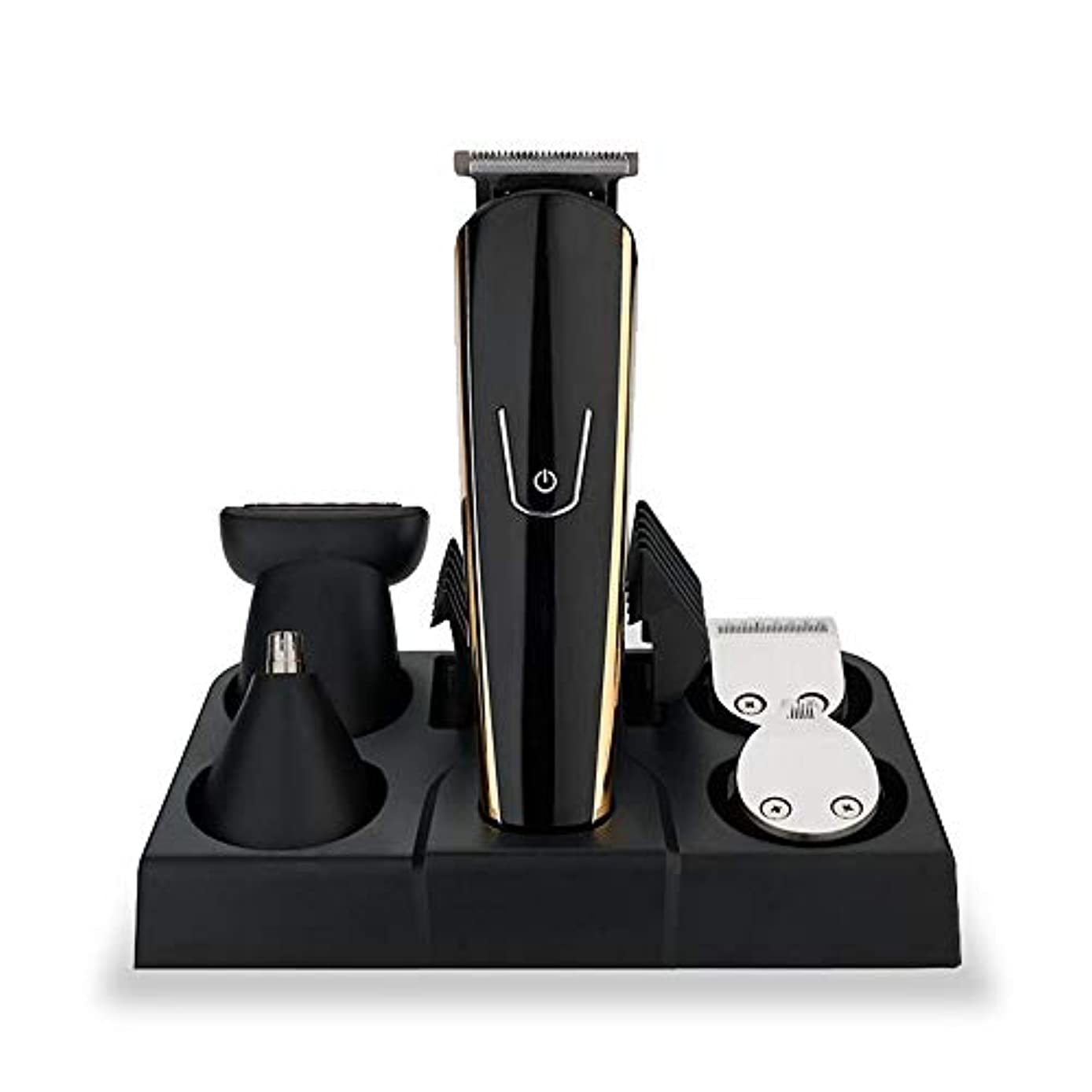 バリカン?ヘアカッター バリカン5 in 1多機能USB充電式クリッパーフェーダーシェービングセット高性能ホームヘアトリマー 家庭用?業務用 (色 : ブラック, サイズ : 3.5*3*16cm)