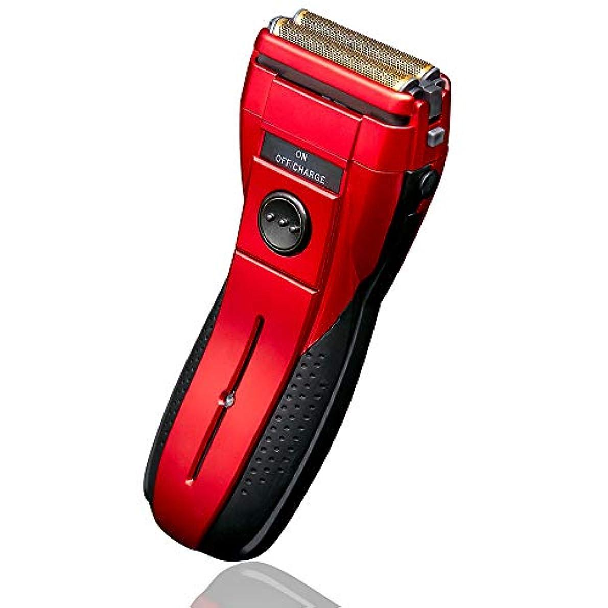 コウモリあなたのものプロテスタント電気シェーバー 2枚刃 髭剃り メンズシェーバー 替え刃付属付き 水洗い対応 ウォッシャブル 充電式 独立フローティング2枚刃 (Red)
