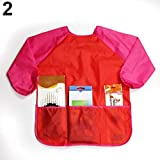 Long Sleeve Aprons Waterproof Smock Apron for Kids Children Drawing Painting Craft Art Clothes - Red