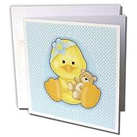 """3drose Baby Duck with Teddy Bear、ブルー、ホワイト水玉グリーティングカード、6"""" x 6」、6のセット( GC _ 219153_ 1)"""