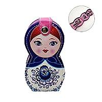 Hongma ネイルケアセット マニキュアセット 可愛い 日本人形 ロシア人形 グルーミングキット 爪やすり 爪切りセット 携帯便利 収納ケース付き (ロシア人形ブルー)