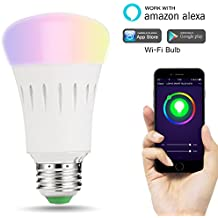 LOHAS Wi-Fi Smart Light Bulb, 9W(60W Equivalent), E27 Base Bulb, Non-Dimmable Multicolor, 810 Lumen, Controlled by Smart phone, Compatible with Alexa and Google Assistant, Decorative Lamp for Christmas, Halloween, Parties, or Just Home Lamps, 1 Pack