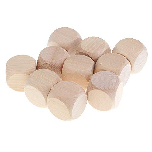 SONONIA 10個 木製 ブランク ダイス 賽子 セット D&D MTG ボードゲーム用