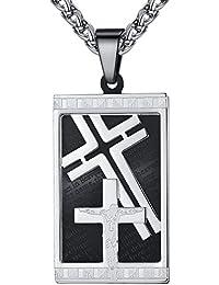 メンズステンレス鋼主祈りイエスキリスト十字架クロスペンダントネックレス24