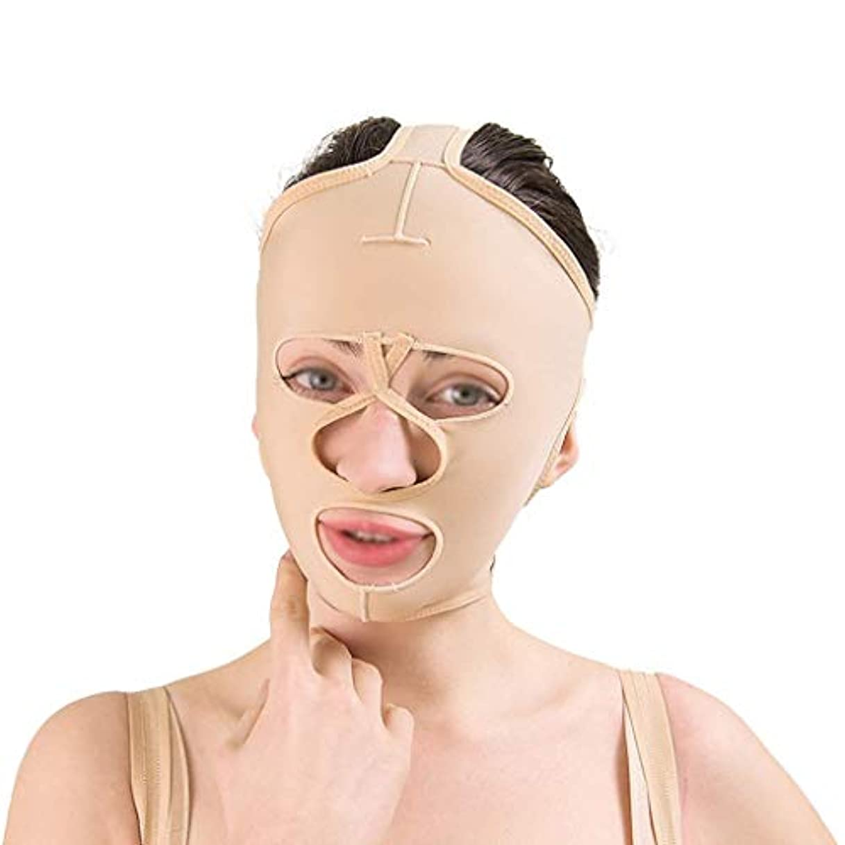 シャワーラジエータートレイフェイシャルリフティングツール、フェイシャルビューティーリフティングマスク、通気性引き締めリフティングフェイシャル包帯、フェイシャルタイトバンデージ(サイズ:L),S
