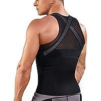 TAILONG Mens Back Braces Body Shaper Tank Top Compression Shirt Tummy Trimmer Abs Slim Underwear Vest Girdle Tights