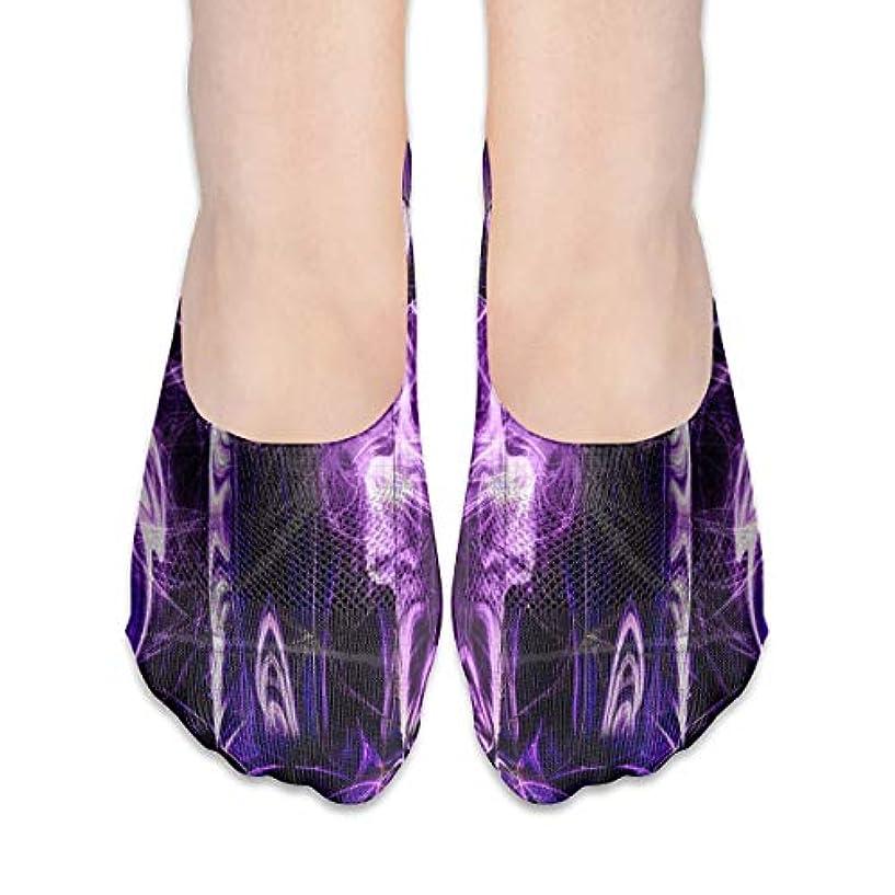 一般化するトリム呼びかけるTrippy Purple Skull No Show Socks女性ボートシューズローファーソックス、滑り止めグリップ