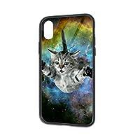 宇宙猫 ガラス スマホケース IPhoneX IPhoneXS ケース 携帯カバー アイフォンX XSカバー 滑り止め おしゃれ 軽量 薄型 人気 オリジナル機感