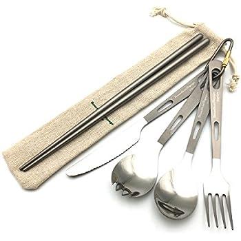 キャンピングチタンカトラリー 5点セット [ナイフ・フォーク・スプーン・箸のセット] 食器 アウトドア 調理用品 バーベキュー (5点セット) …