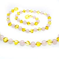 Certified Baltic Amber Teething Necklace for Baby (Rose Quartz/Lemon) - Anti-inflammatory ... by The Art of Cure