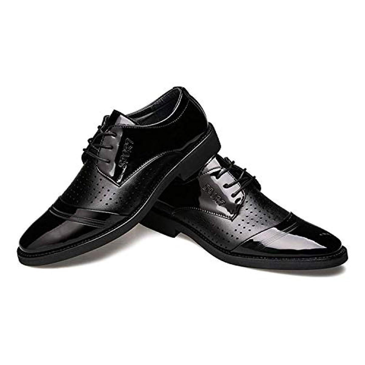 ひまわり追い付く偏差ビジネス 夏 イングランド風 メンズ レースアップ ドレスシューズ ポインテッドトゥ 通勤 通気性 滑りにくい 軽量 紳士靴 防滑 耐磨耗性 柔軟 フォーマル オフィス 革靴 防臭 快適 蒸れない ブラック 透かし雕り