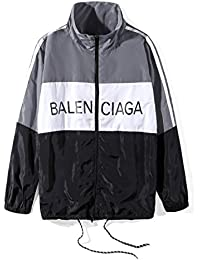 バレンシアガ BALENCIAGA メンズ ウインドブレーカー ラックジャケット 長袖 切替 スポーツウェア ブルゾン (S, グレー)