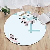 ラウンドラグ|創造的なパターンラグ幾何学模様ラグカーペット洗える敷物 - 屋内、ホーム&スタジオデコレーション、3サイズ、4スタイルに最適 (色 : 120cm, サイズ さいず : D)