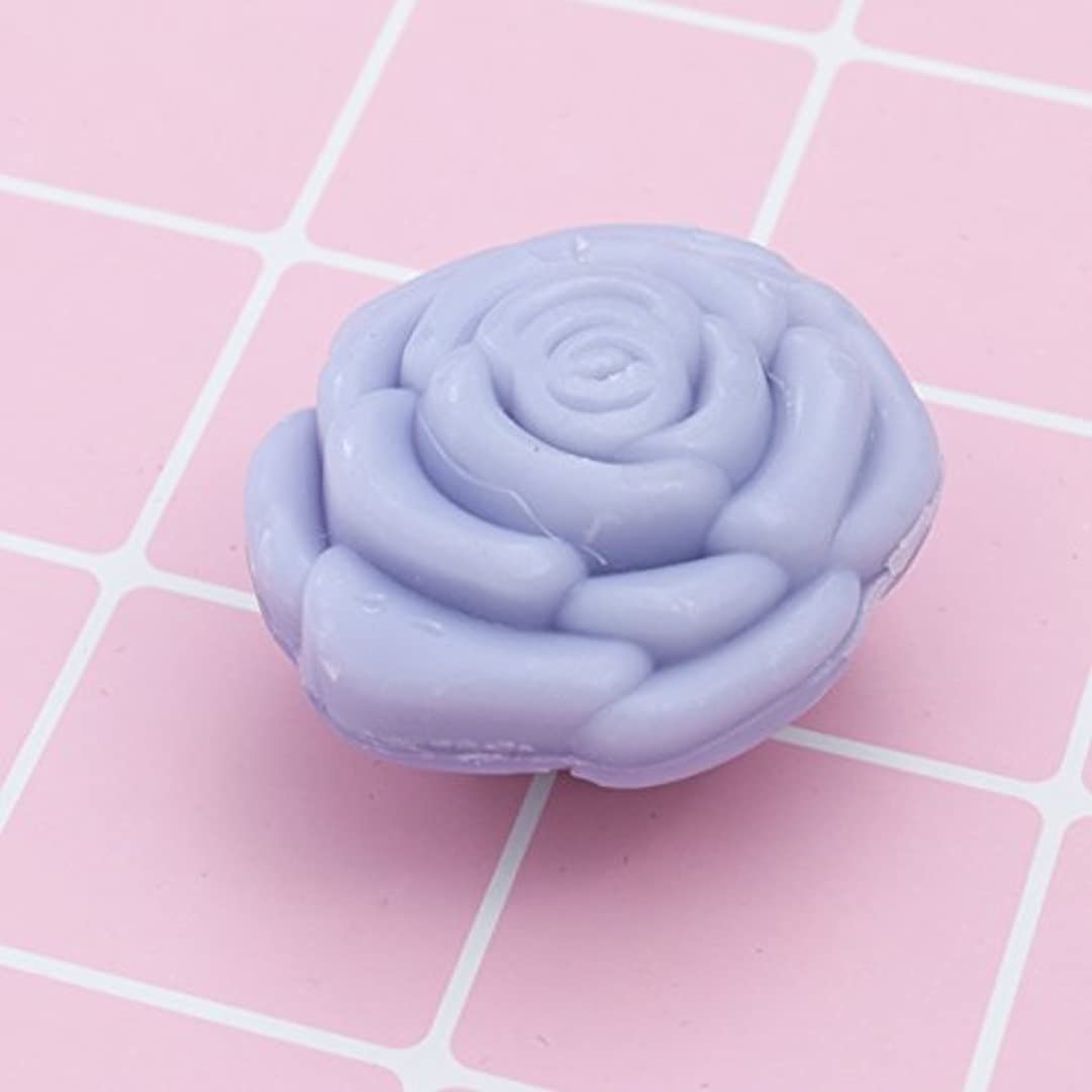 混乱した口実刃Amosfun 手作り石鹸オイルローズフラワーソープアロマエッセンシャルオイルギフト記念日誕生日結婚式バレンタインデー(紫)20ピース