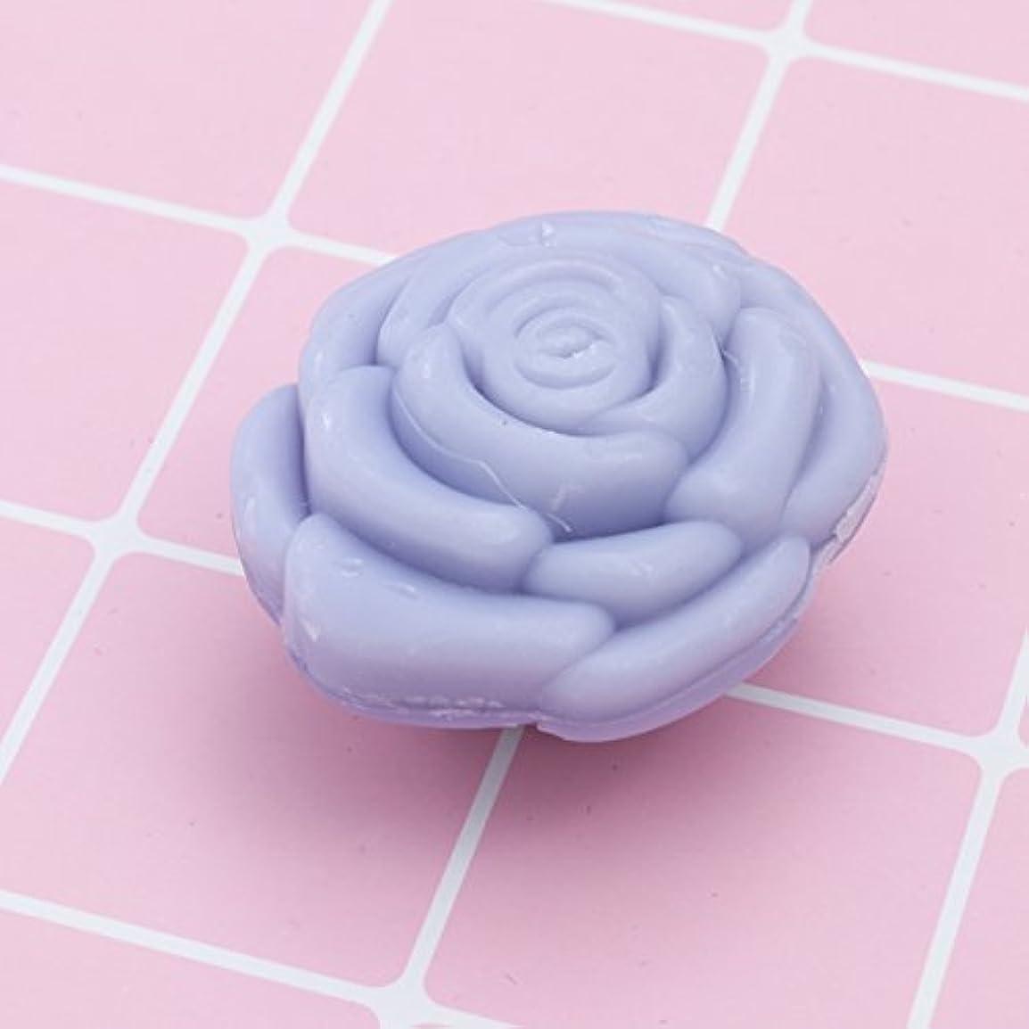 州愛国的な海洋Amosfun 手作り石鹸オイルローズフラワーソープアロマエッセンシャルオイルギフト記念日誕生日結婚式バレンタインデー(紫)20ピース