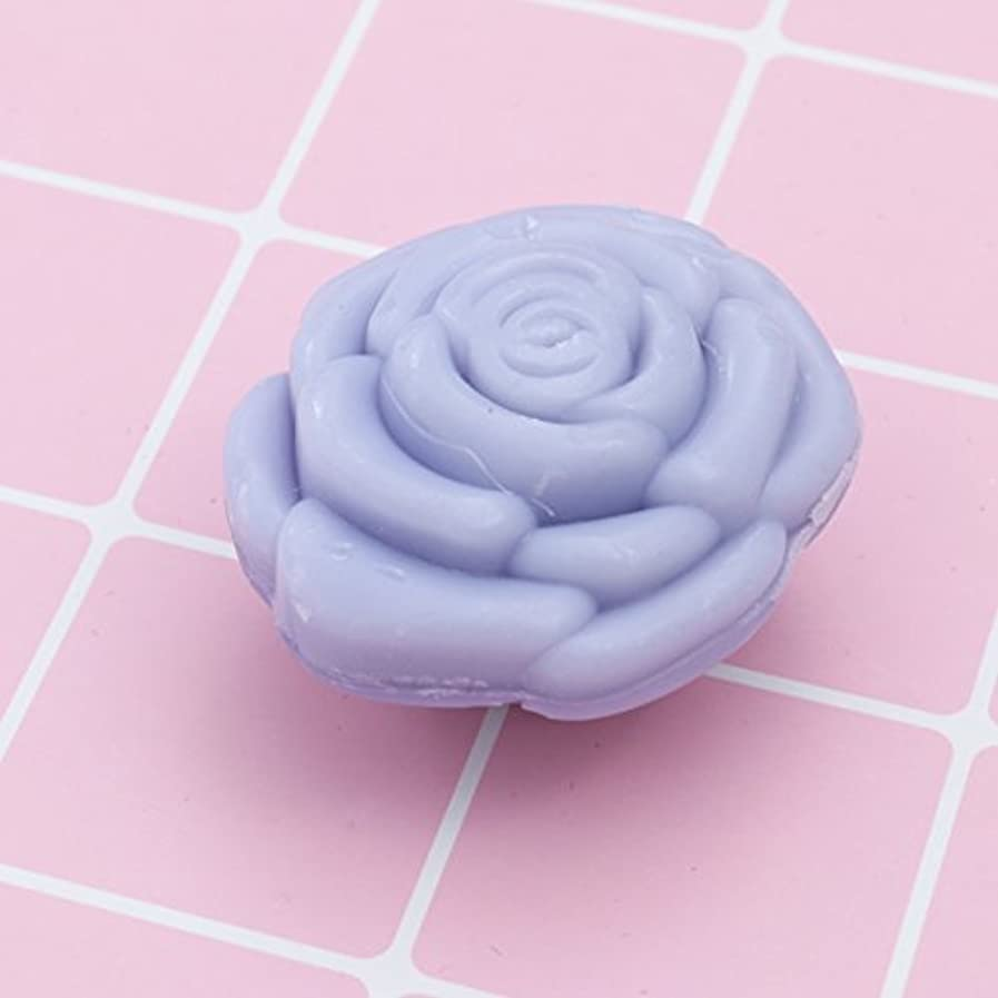 免除衛星ストライプAmosfun 手作り石鹸オイルローズフラワーソープアロマエッセンシャルオイルギフト記念日誕生日結婚式バレンタインデー(紫)20ピース