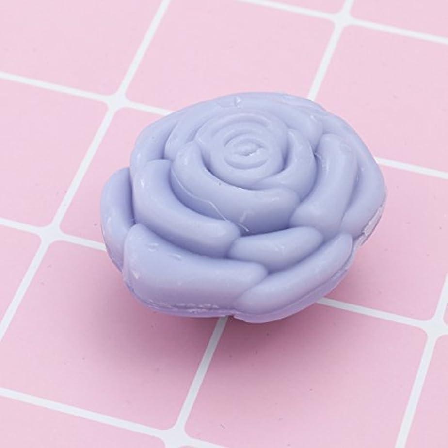 診療所感覚ささいなAmosfun 手作り石鹸オイルローズフラワーソープアロマエッセンシャルオイルギフト記念日誕生日結婚式バレンタインデー(紫)20ピース
