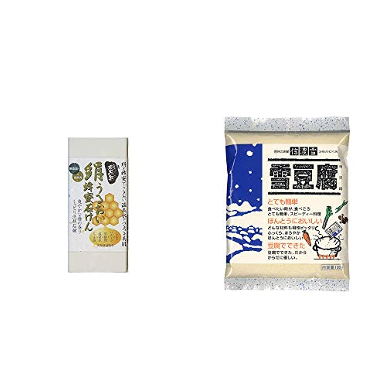 南極解釈印象派[2点セット] ひのき炭黒泉 絹うるおい蜂蜜石けん(75g×2)?信濃雪 雪豆腐(粉豆腐)(100g)