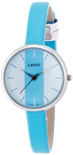 女性用レザー腕時計 アナログ表示 3気圧防水 レザーベルト ブルー LA1085BLU レディース ランツ