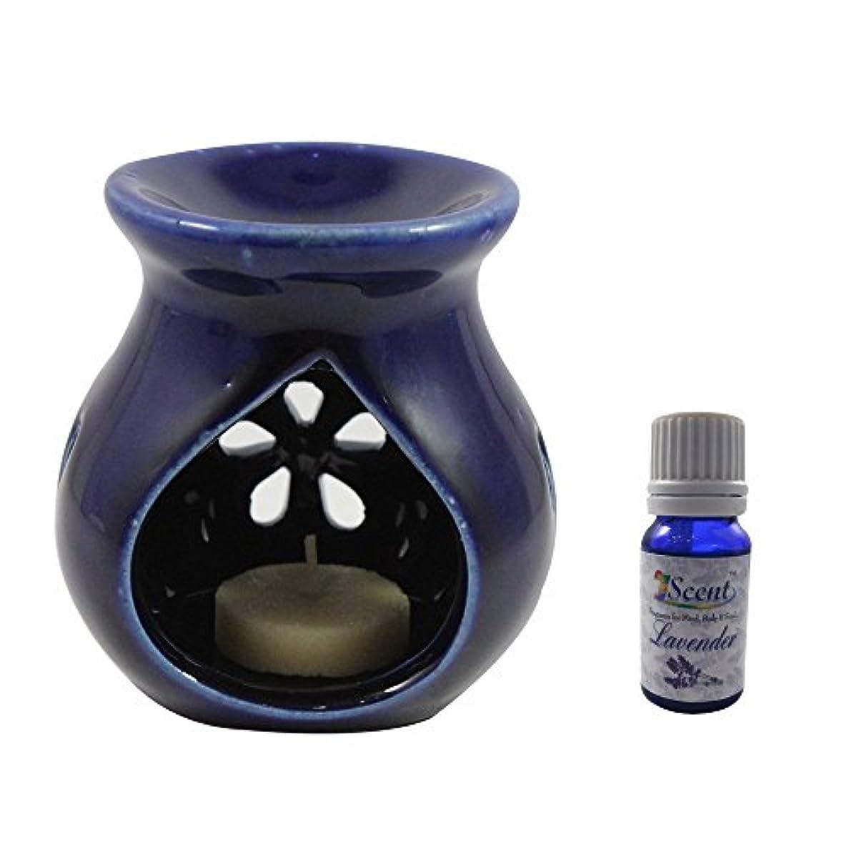 もつれ有害溝ホームデコレーション定期的に使用する汚染フリーハンドメイドセラミックエスニックティーライトキャンドルアロマディフューザーオイルバーナーサンダルウッド香油ブルーカラーティーライトキャンドルアロマテラピー香油ウォーマー数量1