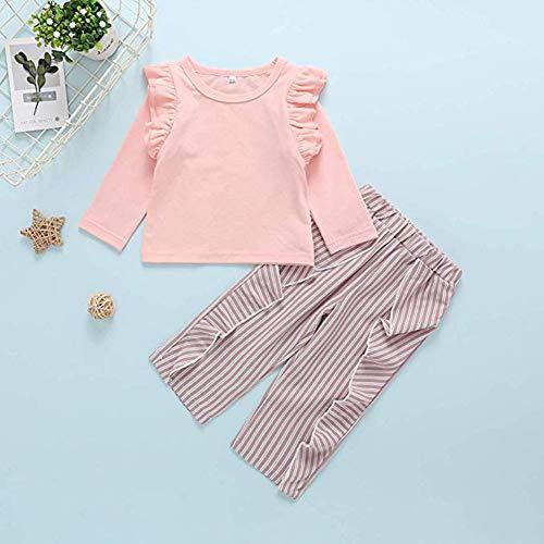 Kislio Toddler Baby Girls Clothes Set Ruffles Shirt Tops+Striped Pants 2Pcs Fall Outfit Pink