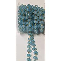 Natural Aqua Blue Jade 8mm Beads 24k Gold Plated Over Silver Chain Sold by The Foot, Semi Precious Gemstone Chain Handmade Jewelry Making Chain