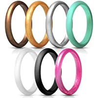 JewelryWe Pack of 7 Silicon Rings Stackable Thin Wedding Bands for Women (Size 4-10)