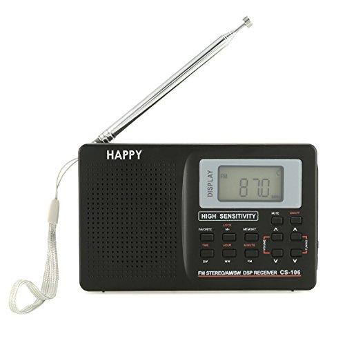 SOONHUA FM/AM/SW라디오 포터블편 휴식숫자FM라디오 DC5V 액정 디지탈 이어폰 부착 깨어 시계가 부착 블랙-soonhua